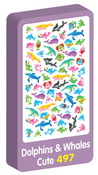 Dolphins & Whales Cute Stickers Purple Peach Stickers