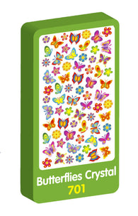 Butterflies Crystal Purple Peach Stickers