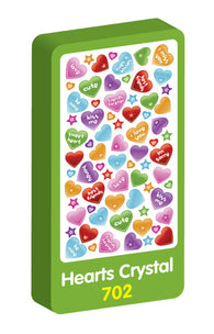 Hearts Crystal Purple Peach Stickers