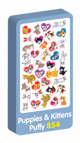 Puppies and Kittens puffy Purple Peach Stickers