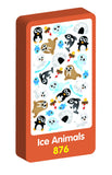 Ice Animals Wobbly Purple Peach Stickers