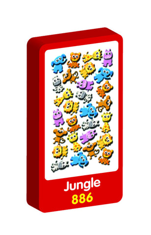 Jungle 3D Handiwork Purple Peach Stickers