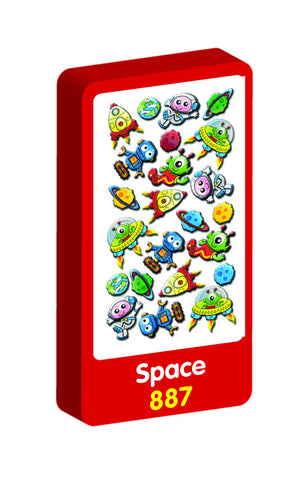 Space 3D Handiwork Purple Peach Stickers