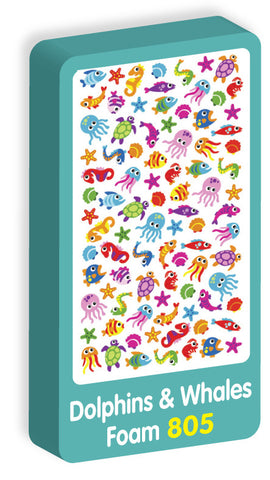 Dolphins & Whales Purple Peach Stickers