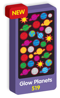 Glow In The Dark Planets Purple Peach Stickers