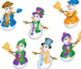 Snowman Funky Purple Peach Stickers