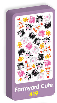 Farmyard Cute Stickers Purple Peach Stickers