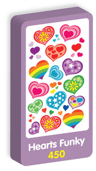 Hearts Funky Stickers Purple Peach Stickers