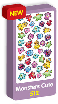 Monsters Cute Stickers Purple Peach Stickers
