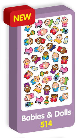 Babies and Dolls Stickers Purple Peach Stickers