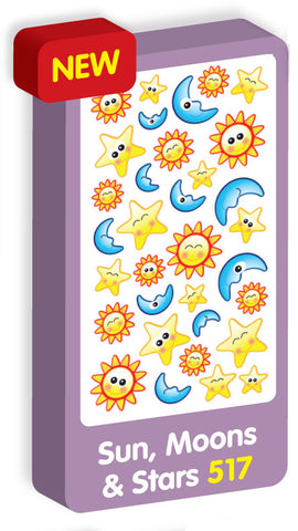 Suns, Moons and Stars Stickers Purple Peach Stickers