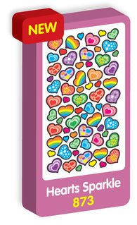 Hearts Sparkle Purple Peach Stickers