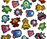 Monsters Wobbly Purple Peach Stickers