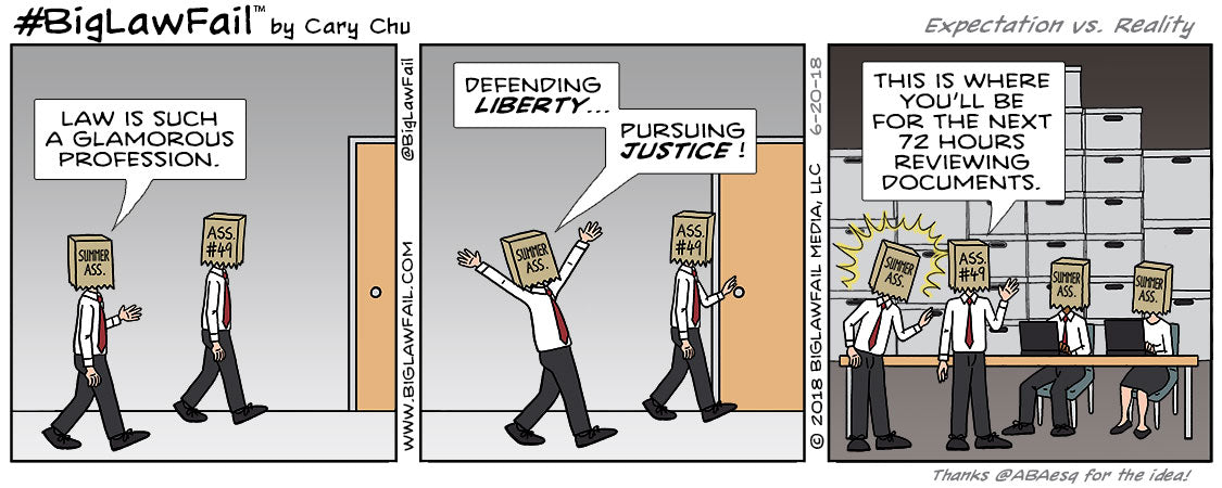 00122 BigLawFail Comics BigLaw Lawyer Attorney Law Cartoon Legal Humor Comic Strip Cary Chu Expectation Vs Reality