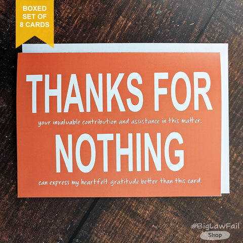 Thanks For Nothing Card, Box of 8
