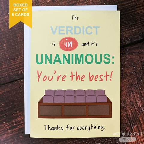 Unanimous Verdict Card, Box of 8