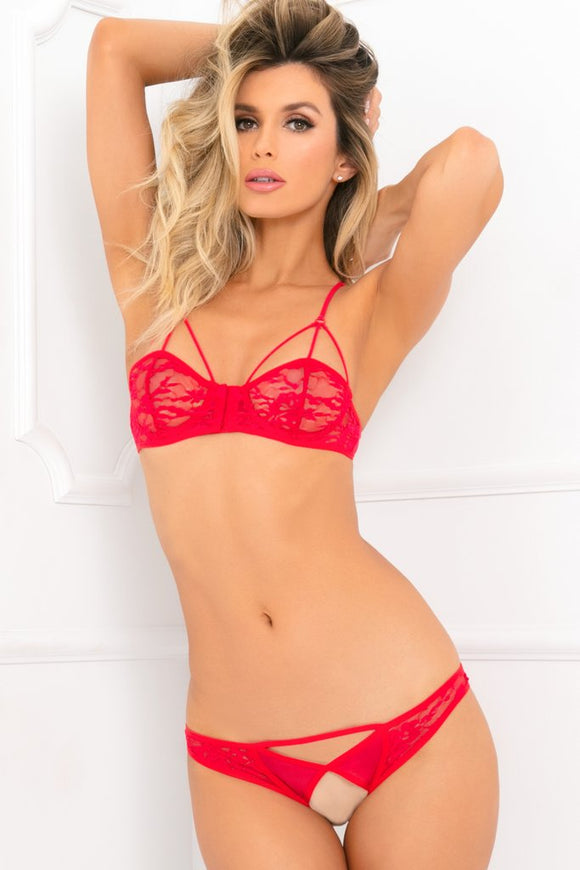 2 Pc Lace Bra & Crotchless Panty Set  -  Small/ Medium- Red RR-532051-REDSM