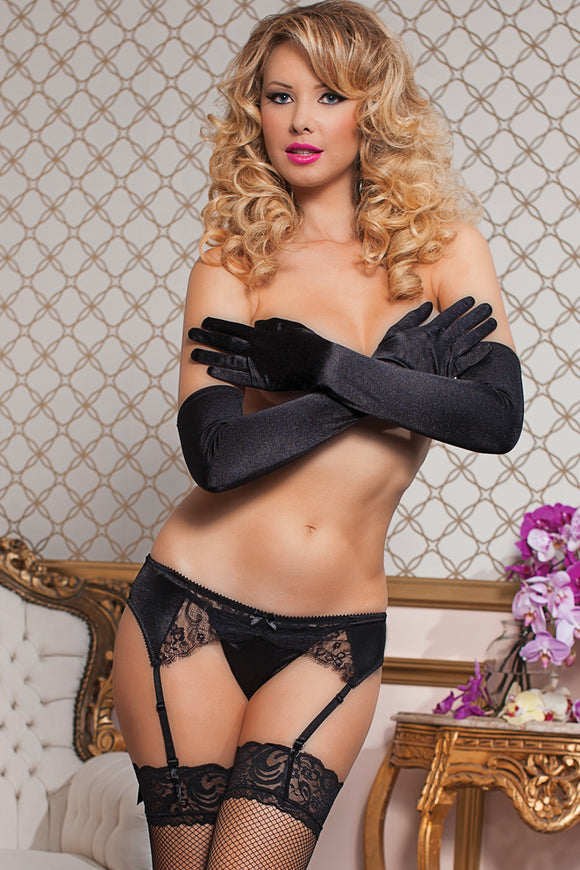 Stretch Satin and Eyelash Lace Garter  - Small/medium - Black STM-9759BLKSM
