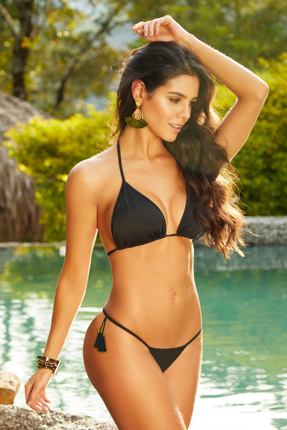 String Triangle Bikini Bottom - Black - Medium STM-70003BBLKM
