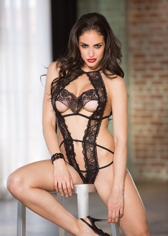 Tulip Lace Teddy - One Size - Black HOT-96601BLK