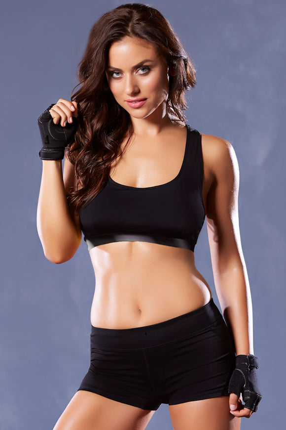 Strike Corsetry Back Microfiber Sports Bra - Large - Black STM-30124BLKL