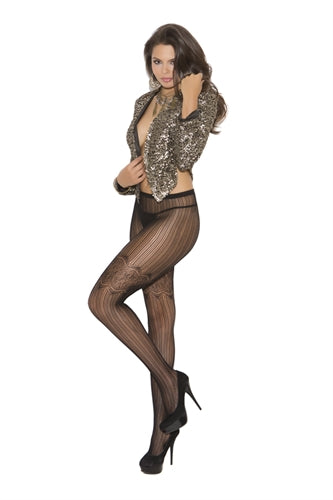 Vertical Stripe Pantyhose - Black - One Size EM-1826