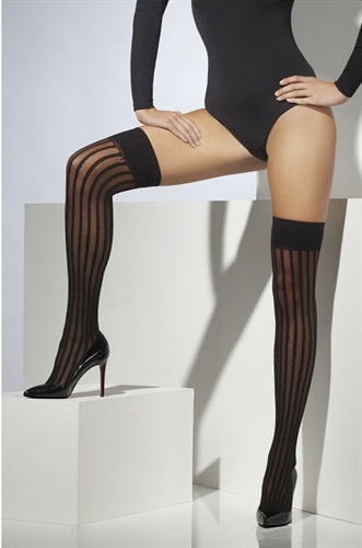 Striped Thigh High - Black Fv-30396 FV-42765