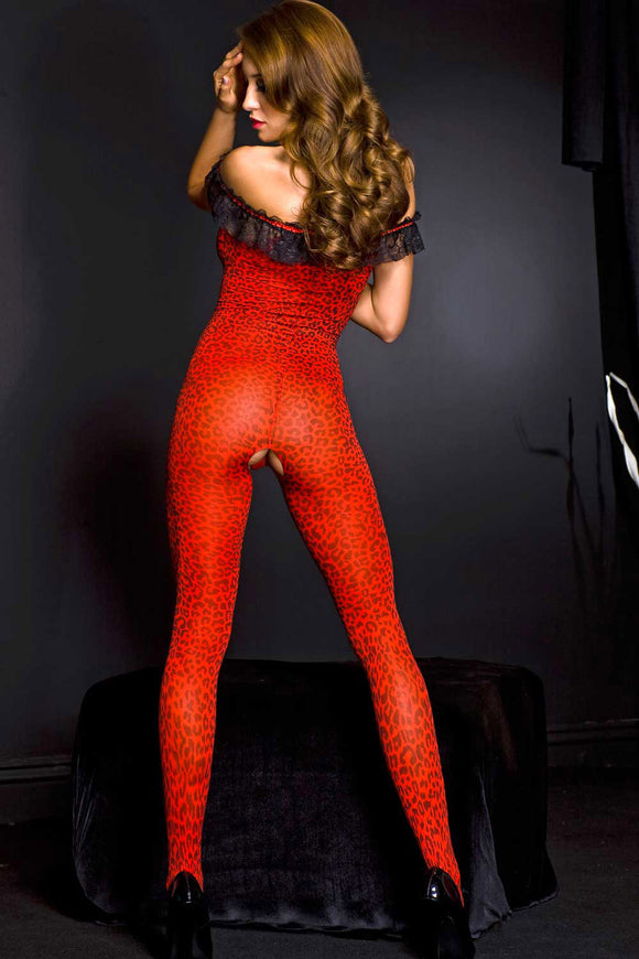 Off the Shoulder Leopard Print Crotchless Bodystocking - One Size - Red / Black ML-1262-REDBLK