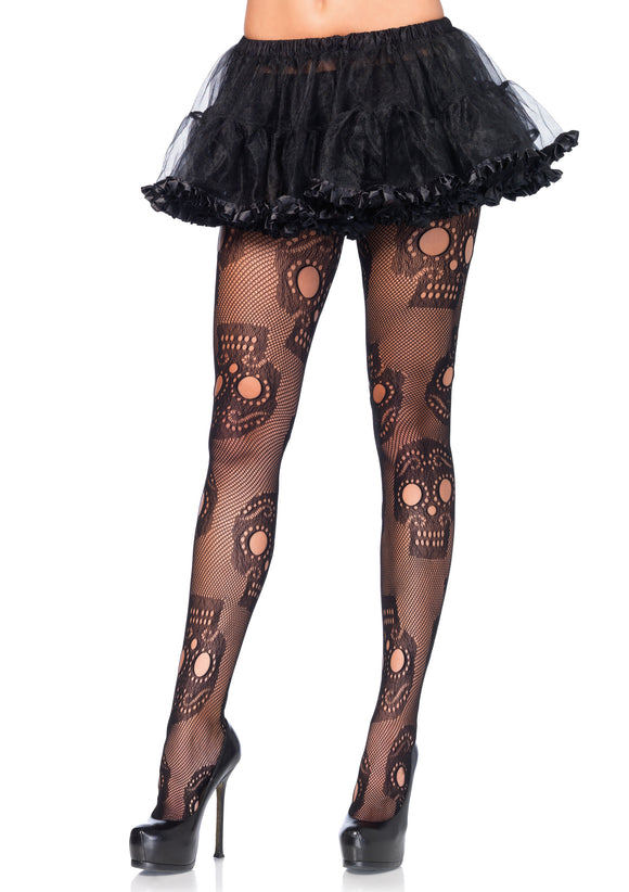 Sugar Skull Net Pantyhose - One Size LA-9982