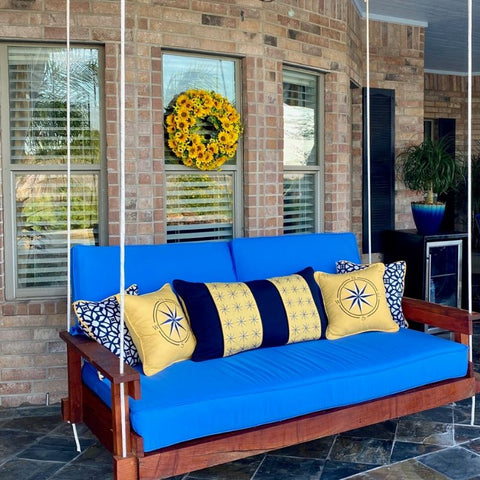 Outdoor Daybed Swing, Sunbrella Outdoor Cushions, Pillows, by Riviera Outdoor Decor, Corpus Christi, Texas
