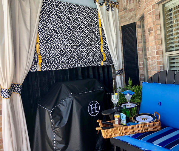 Outdoor roll up curtains, custom monogrammed grill cover, patio curtains