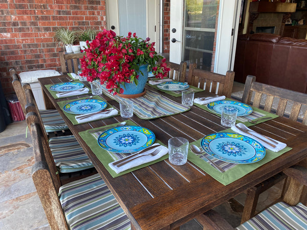 outdoor chair cushions, outdoor dining, outdoor placemats, outdoor table runner Sunbrella fabric
