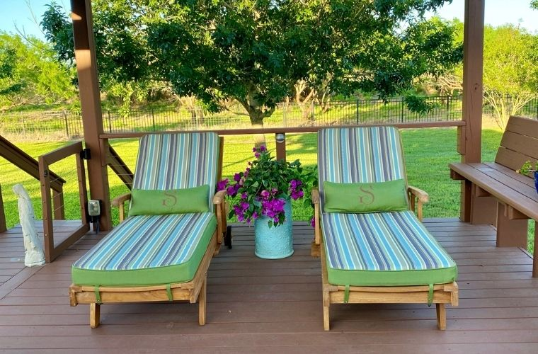Outdoor Patio Furniture, Chaise lounge, Outdoor Cushions, Riviera Outdoor Decor, Rockport, Texas Sunbrella fabric