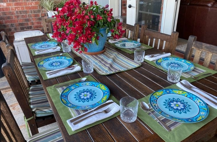 Outdoor dining Table, teak, outdoor linens, Sunbrella fabric, Port Aransas, Texas