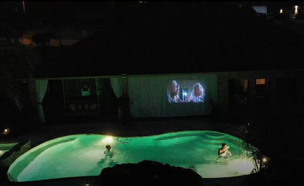 Outdoor Curtains as movie screen, Riviera Outdoor Decor, Corpus Christi