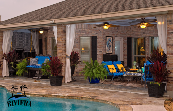 Outdoor patio room, custom outdoor cushions, embroidered outdoor pillows, outdoor drapes. Riviera Outdoor Decor