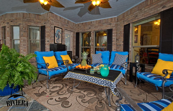 Outdoor patio room, Custom outdoor Cushions, embroidered outdoor pillow, outdoor table cloth, Riviera Outdoor Decor