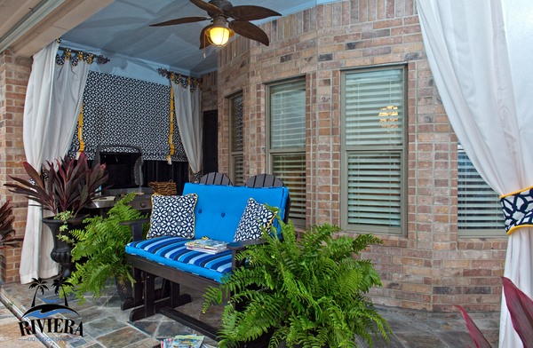 Outdoor roll down curtains, outdoor privacy curtain, Riviera Outdoor Decor, Rockport Texas