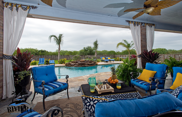 patio outdoor room, custom wind resistant outdoor draperies, custom outdoor cushions, Riviera Outdoor Decor