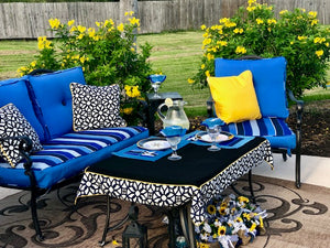 Outdoor pillow, cushions and tablecloth Sunbrella fabric