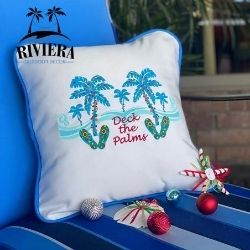 Christmas Outdoor Pillow- Deck the Palms