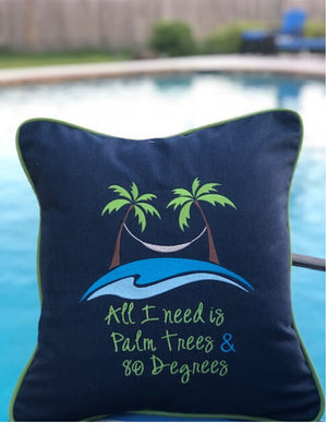 Outdoor Pillow, monogrammed, Riviera Outdoor Decor, Corpus Christi, Texas