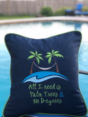 Outdoor pillow with Custom outdoor embroidery