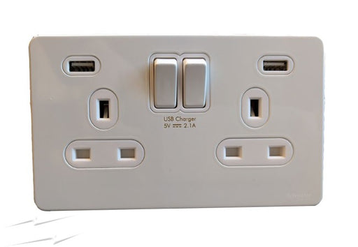 2GANG 13A SWITCHED SOCKET C/W 2 USB CHROME