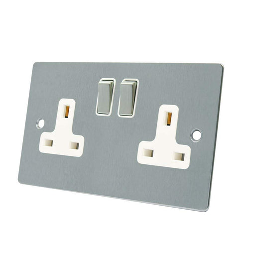 FLAT 2GANG SOCKET MATT CHROME