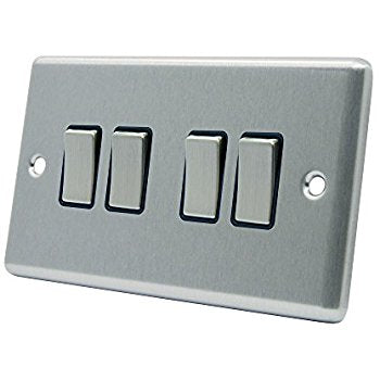 FLAT 4GANG SWITCH MATT CHROME  Product Code: 21405