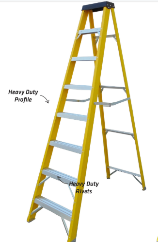 8 thread step fibreglass ladder
