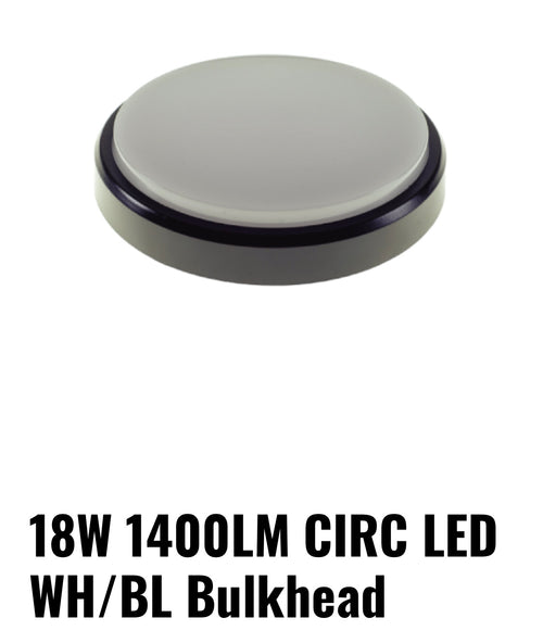 Bulkhead 18watt round black/white cover