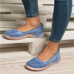 Round toe Hollow-out Breathable Flat Sandals for Women
