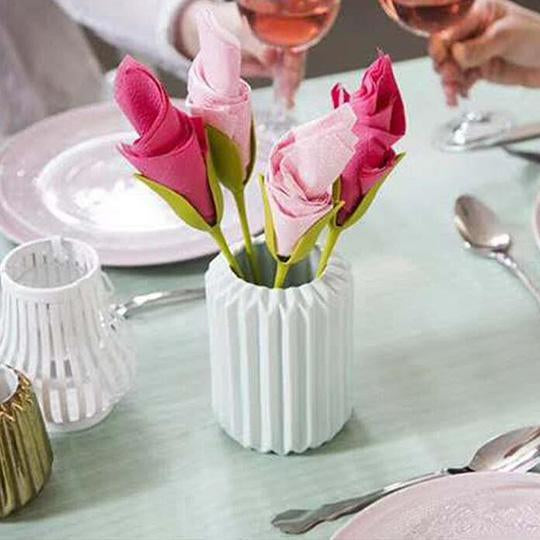 Bloom Napkin Holder - Twist Flower Buds Serviette Holders Plus White Napkins for Making Original Table Arrangements